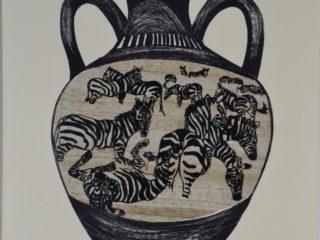 Zebra Amphora Jar Series (grass paper chine-colle, printed on grey paper)