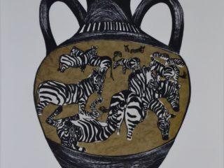 Zebra Amphora Jar Series (Brown paper Chine-collé printed on grey paper)